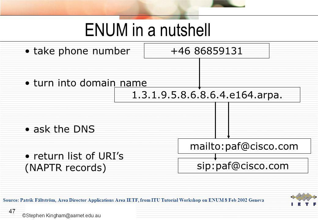 ENUM in a nutshell take phone number +46 86859131