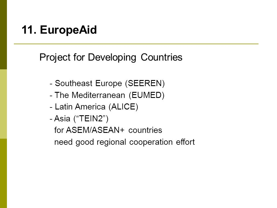 11. EuropeAid Project for Developing Countries