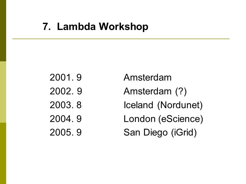 7. Lambda Workshop 2001. 9 Amsterdam 2002. 9 Amsterdam ( )