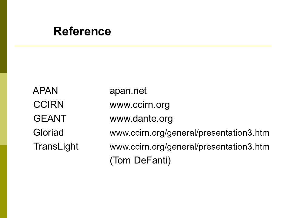 Reference APAN apan.net CCIRN www.ccirn.org GEANT www.dante.org