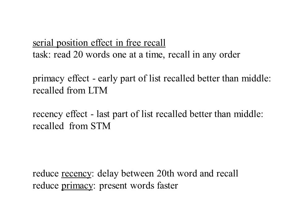 effect of delayed recall on serial Effects on complex span tasks and delayed free-recall tasks pro-  better  memory performance compared with serial recall instruc.