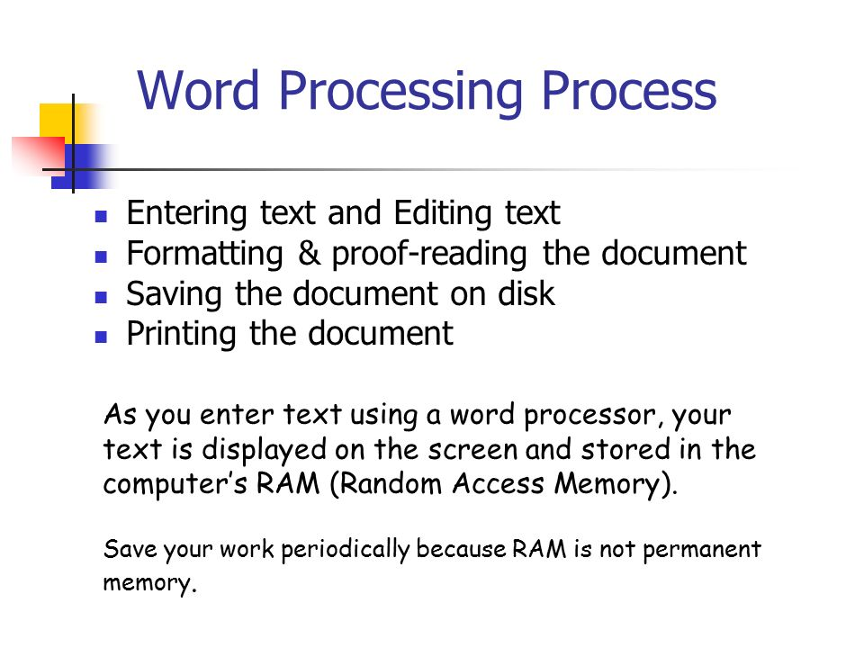 word processor and document A word processor is software or a device that allows users to create, edit, and print documents word processors are delivered as a cloud service or as software that users install.