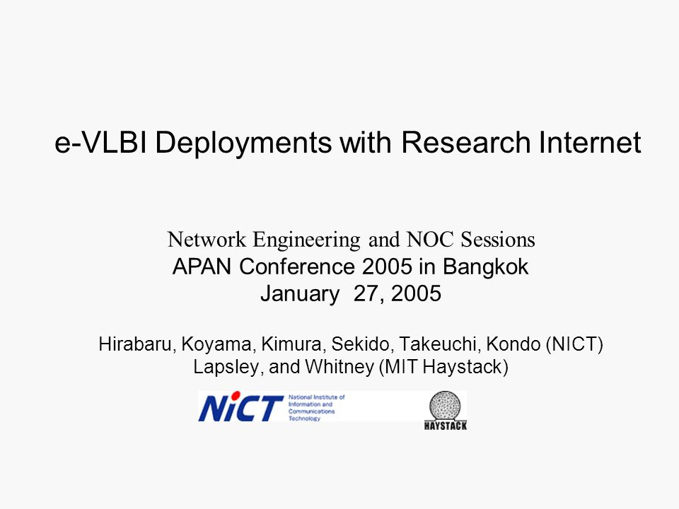 e-VLBI Deployments with Research Internet