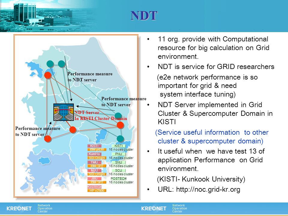 NDT 11 org. provide with Computational resource for big calculation on Grid environment. NDT is service for GRID researchers.
