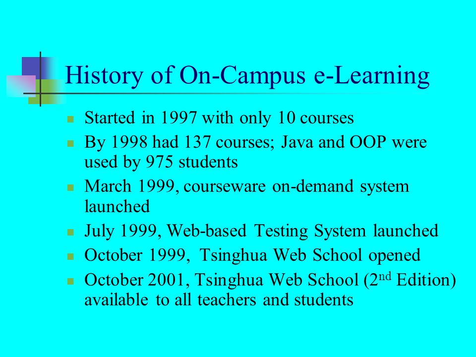 History of On-Campus e-Learning