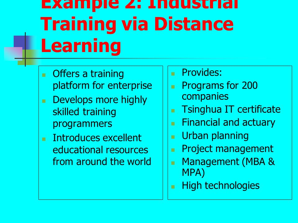 Example 2: Industrial Training via Distance Learning