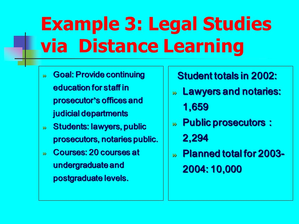 Example 3: Legal Studies via Distance Learning