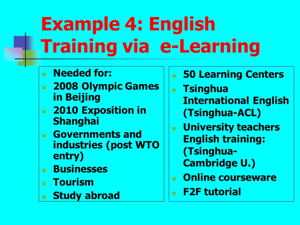 Example 4: English Training via e-Learning