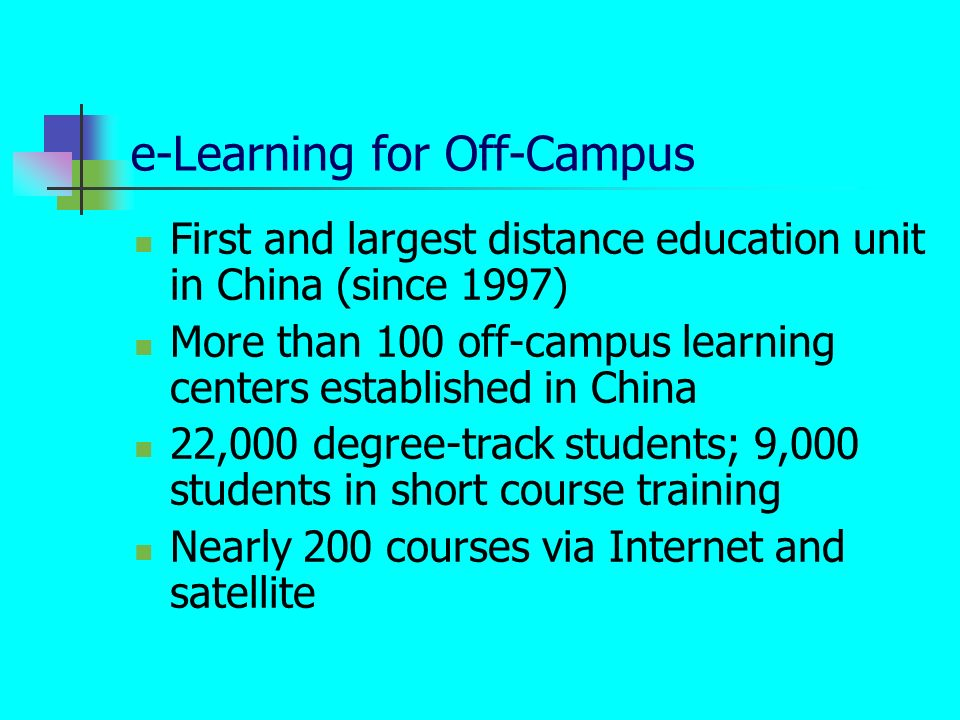 e-Learning for Off-Campus