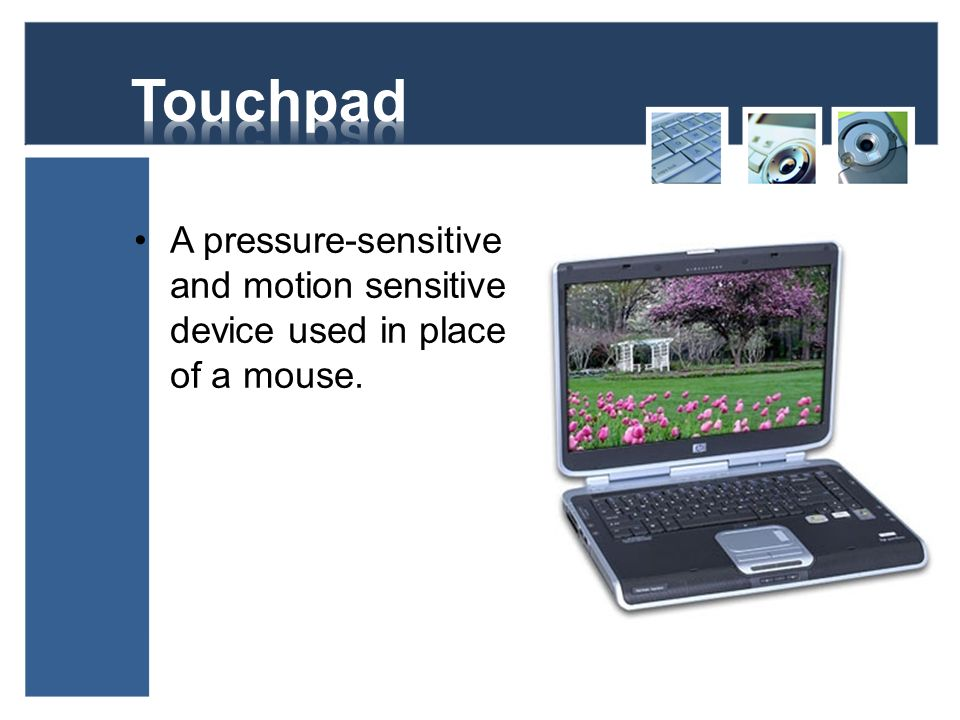 Touchpad A pressure-sensitive and motion sensitive device used in place of a mouse.