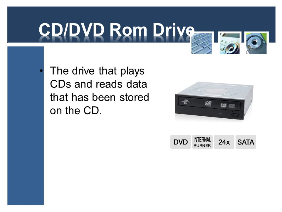 CD/DVD Rom Drive The drive that plays CDs and reads data that has been stored on the CD.
