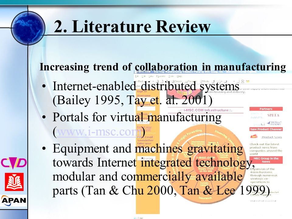 2. Literature Review Increasing trend of collaboration in manufacturing. Internet-enabled distributed systems (Bailey 1995, Tay et. al. 2001)