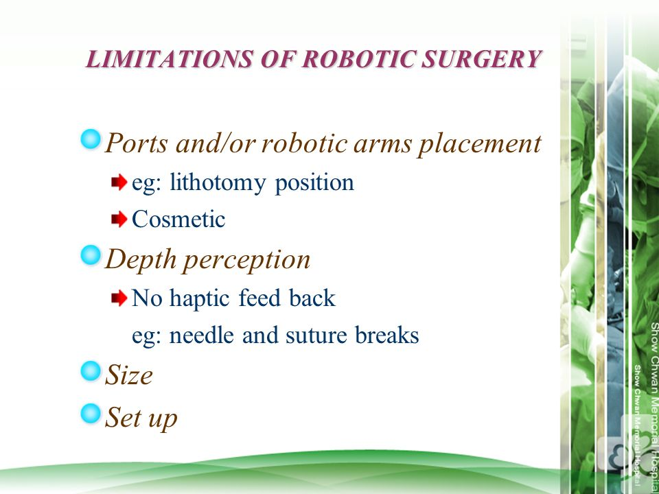 LIMITATIONS OF ROBOTIC SURGERY