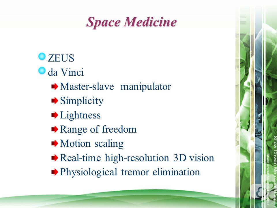 Space Medicine ZEUS da Vinci Master-slave manipulator Simplicity