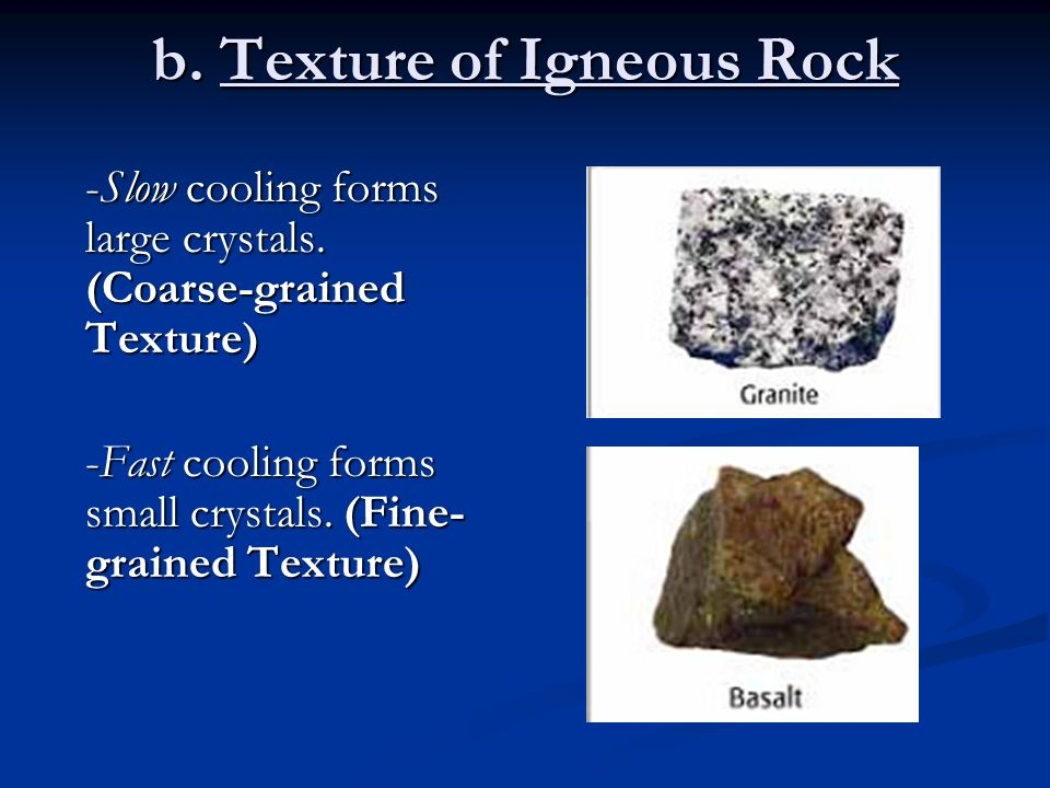 Types of Rocks Objective #1: Describe and classify igneous rocks ...
