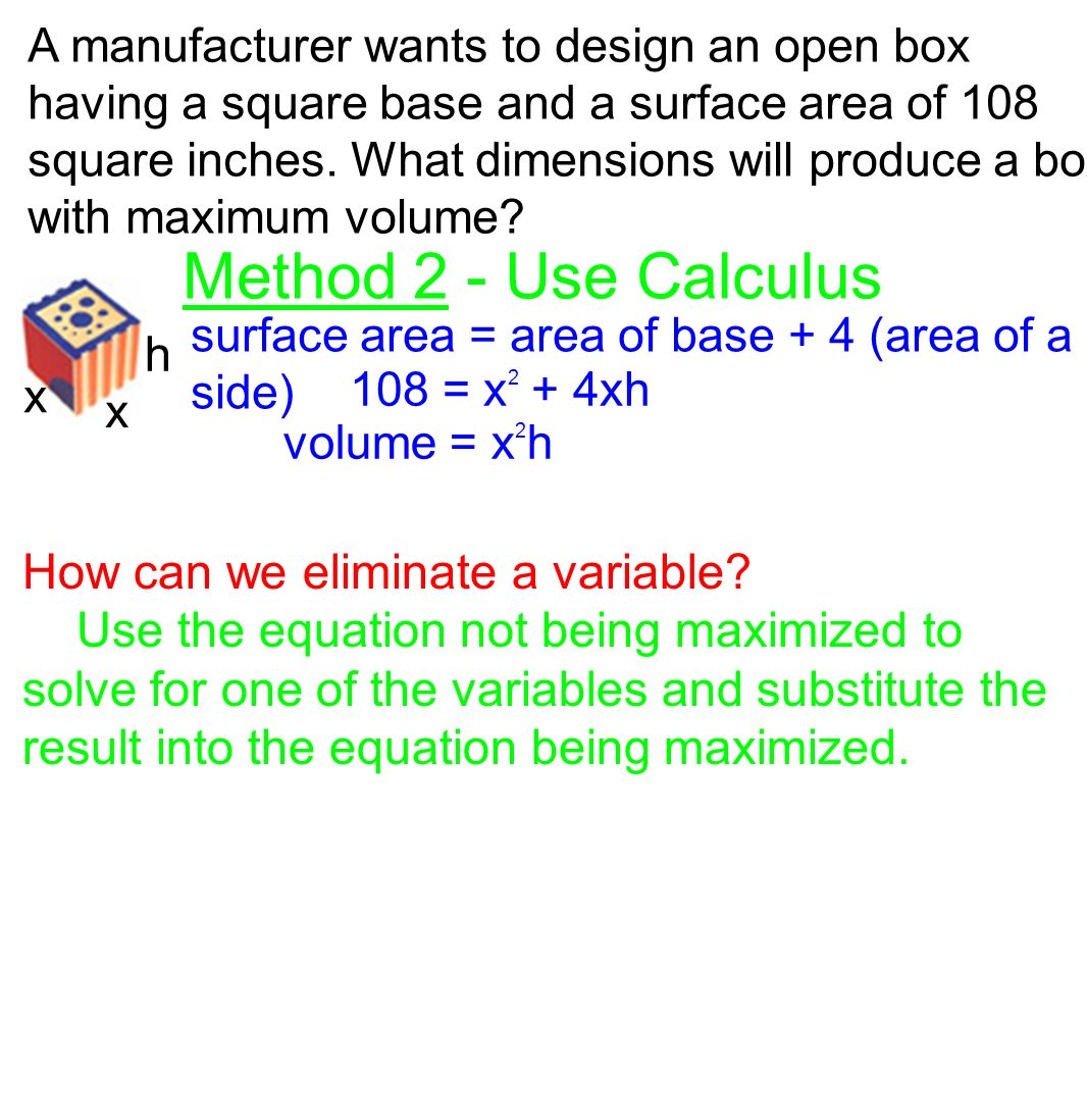 Method 2  Use Calculus H How Can We Eliminate A Variable