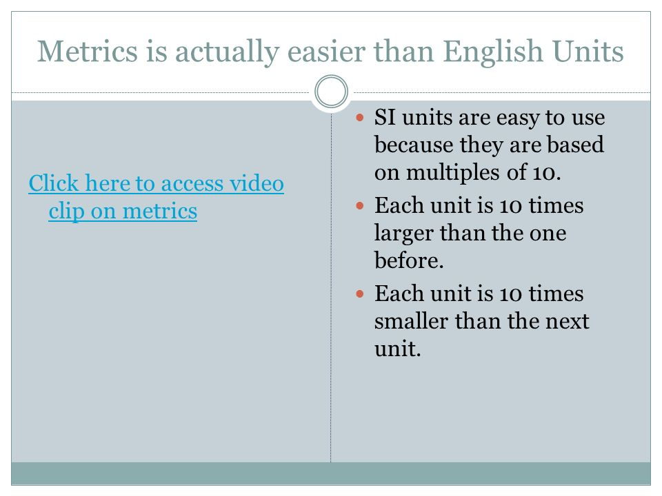 Metrics is actually easier than English Units