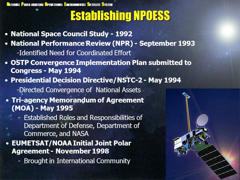 Establishing NPOESS National Space Council Study