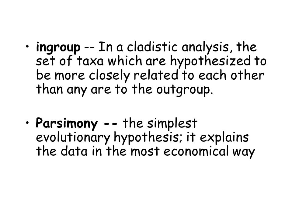 ingroup -- In a cladistic analysis, the set of taxa which are hypothesized to be more closely related to each other than any are to the outgroup.