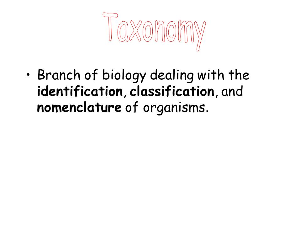 Taxonomy Branch of biology dealing with the identification, classification, and nomenclature of organisms.