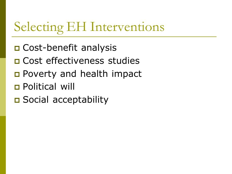 Selecting EH Interventions