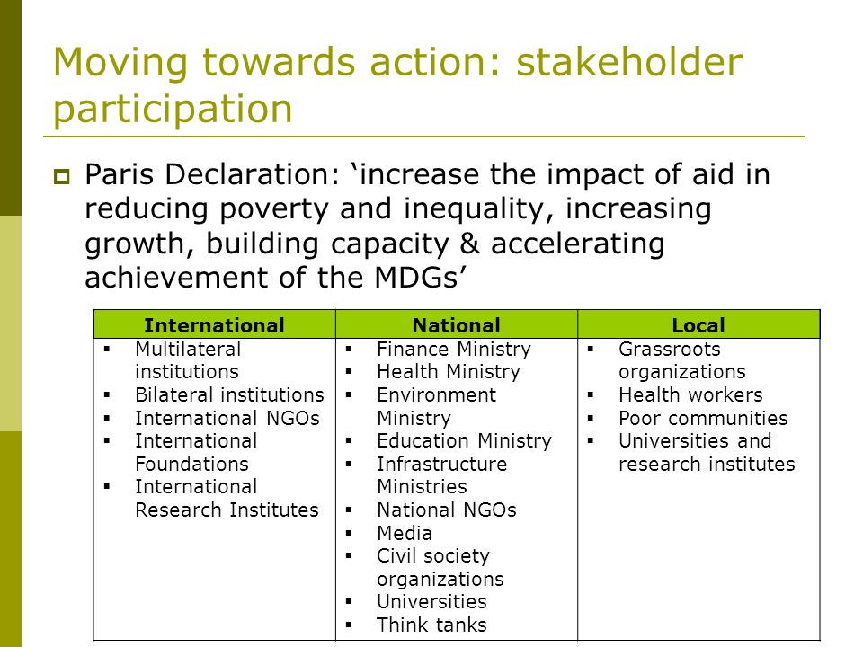 Moving towards action: stakeholder participation