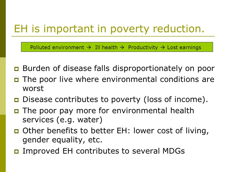 EH is important in poverty reduction.