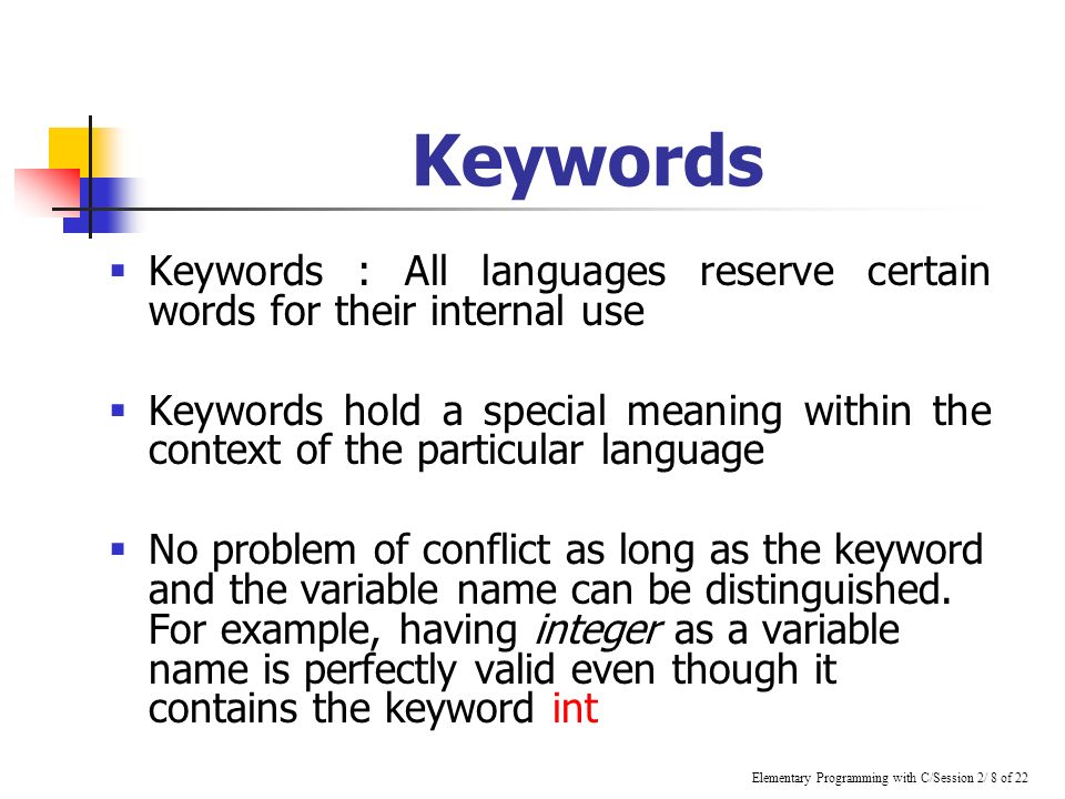 keywords in c language pdf