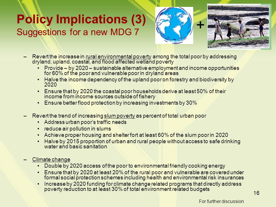 Policy Implications (3) Suggestions for a new MDG 7