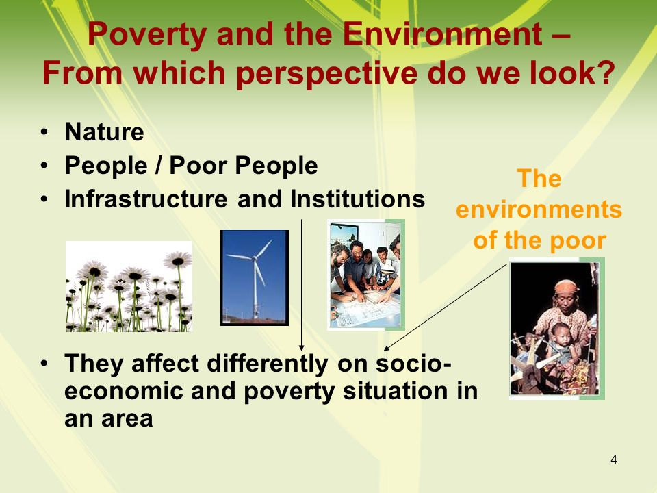 Poverty and the Environment – From which perspective do we look
