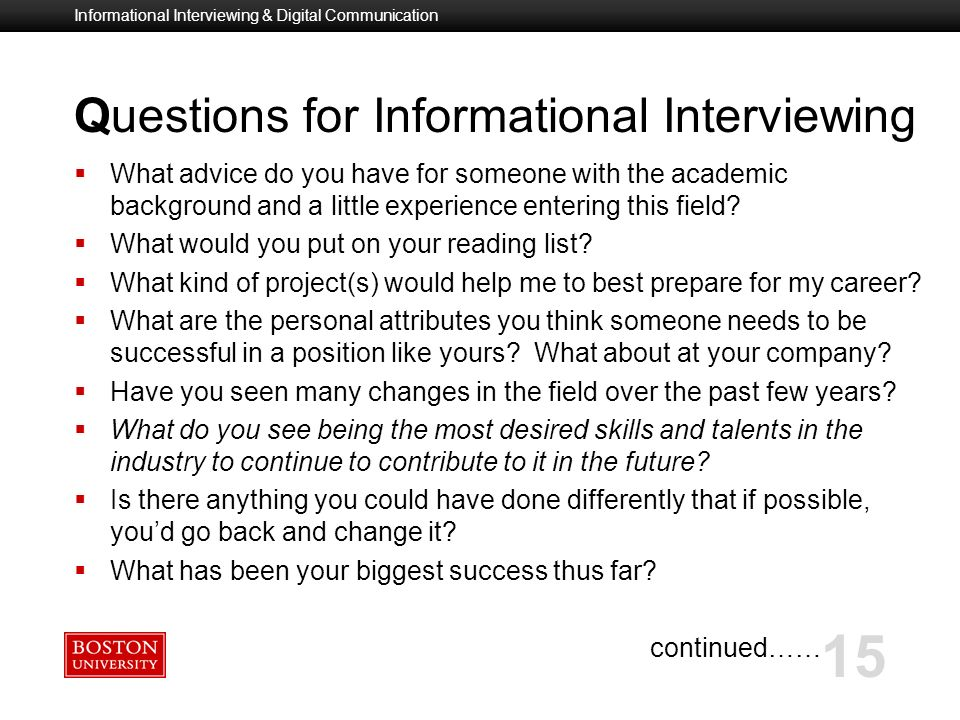 informational interviewing questions