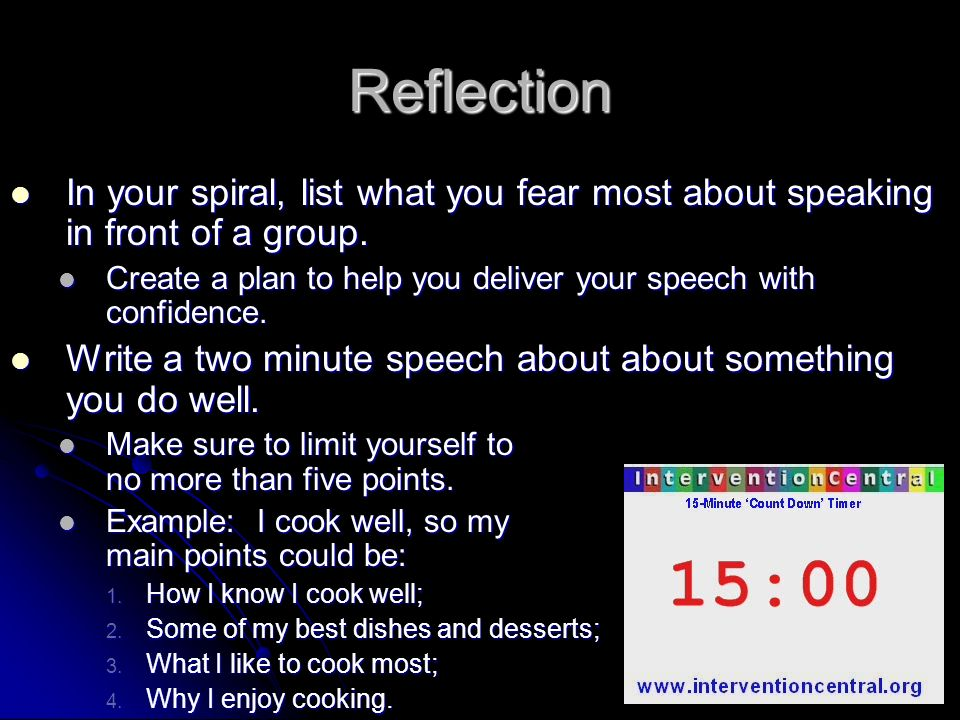 how to write a two minute speech