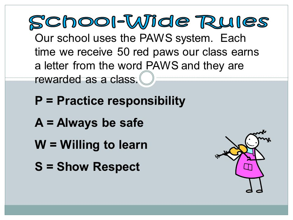 School-Wide Rules P = Practice responsibility A = Always be safe