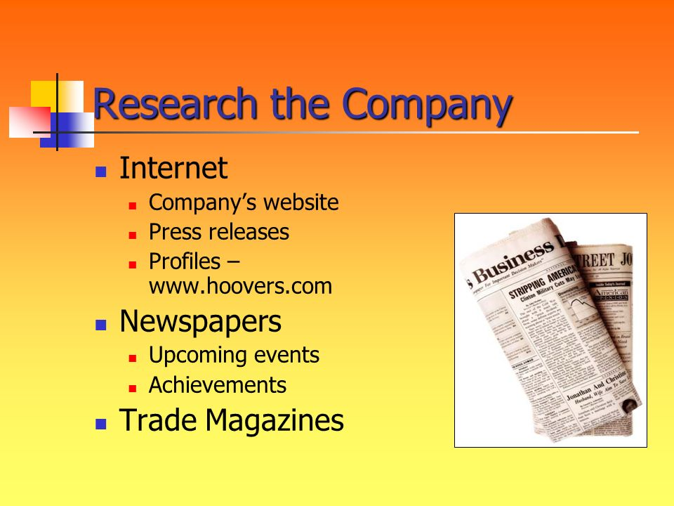 Research the Company Internet Newspapers Trade Magazines