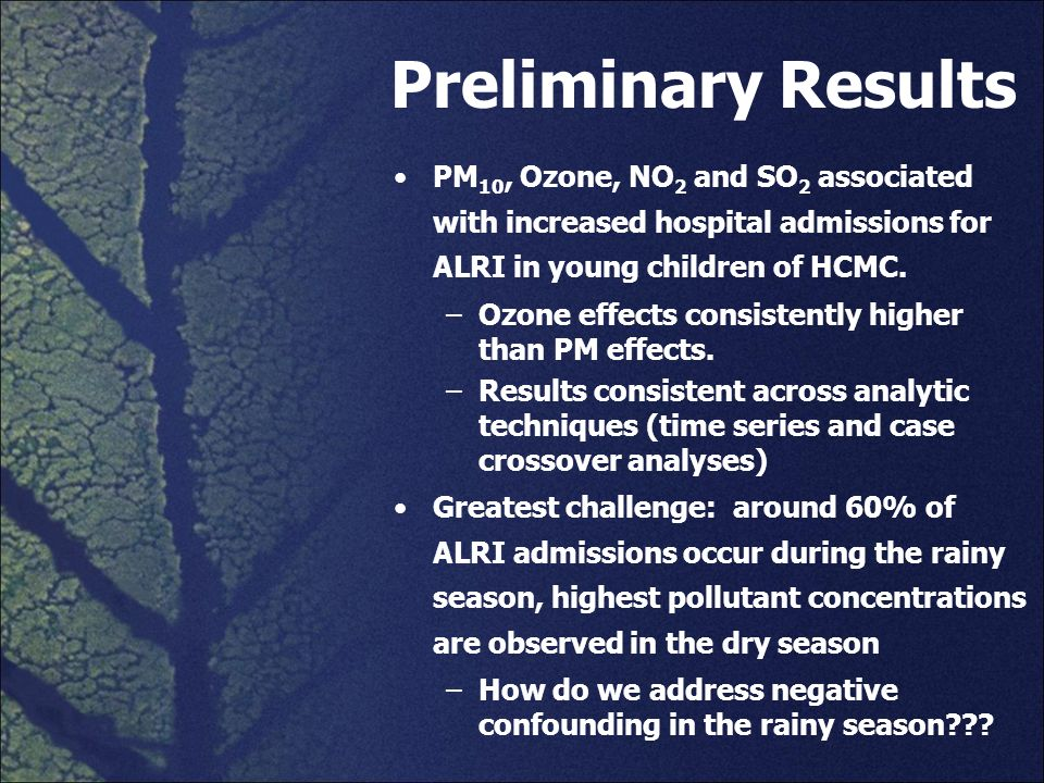 Preliminary Results PM10, Ozone, NO2 and SO2 associated with increased hospital admissions for ALRI in young children of HCMC.