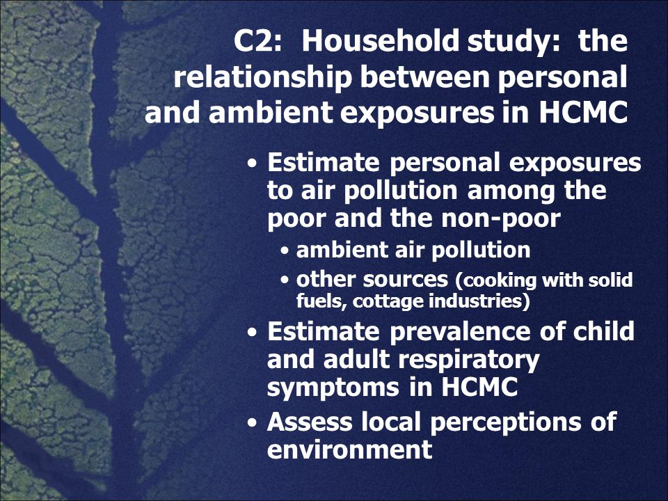C2: Household study: the relationship between personal and ambient exposures in HCMC