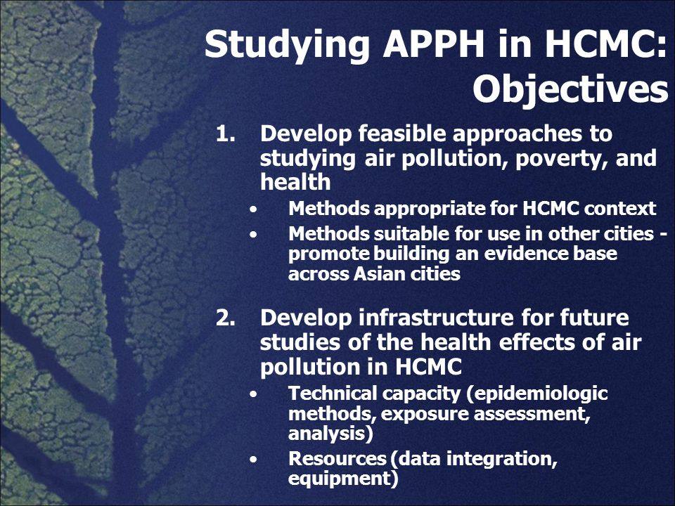 Studying APPH in HCMC: Objectives