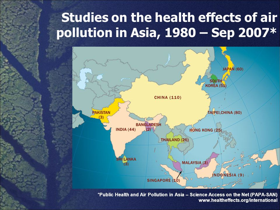 Studies on the health effects of air pollution in Asia, 1980 – Sep 2007*