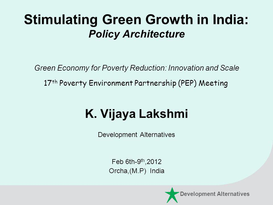 Stimulating Green Growth in India: Policy Architecture