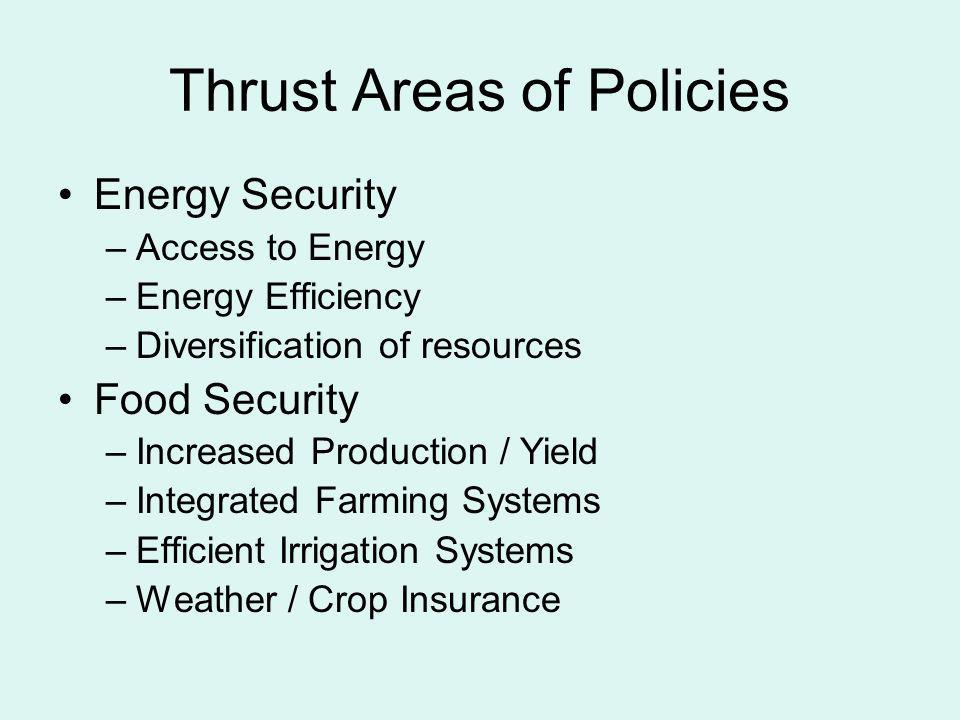 Thrust Areas of Policies