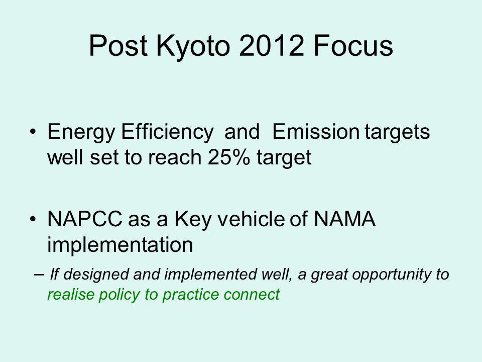 Post Kyoto 2012 Focus Energy Efficiency and Emission targets well set to reach 25% target. NAPCC as a Key vehicle of NAMA implementation.