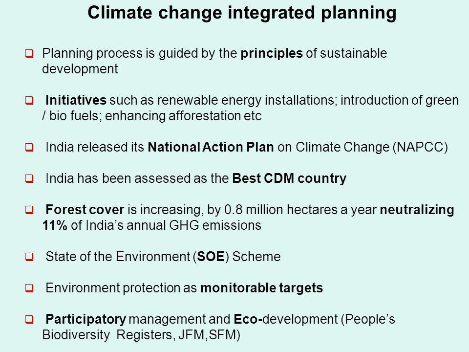 Climate change integrated planning