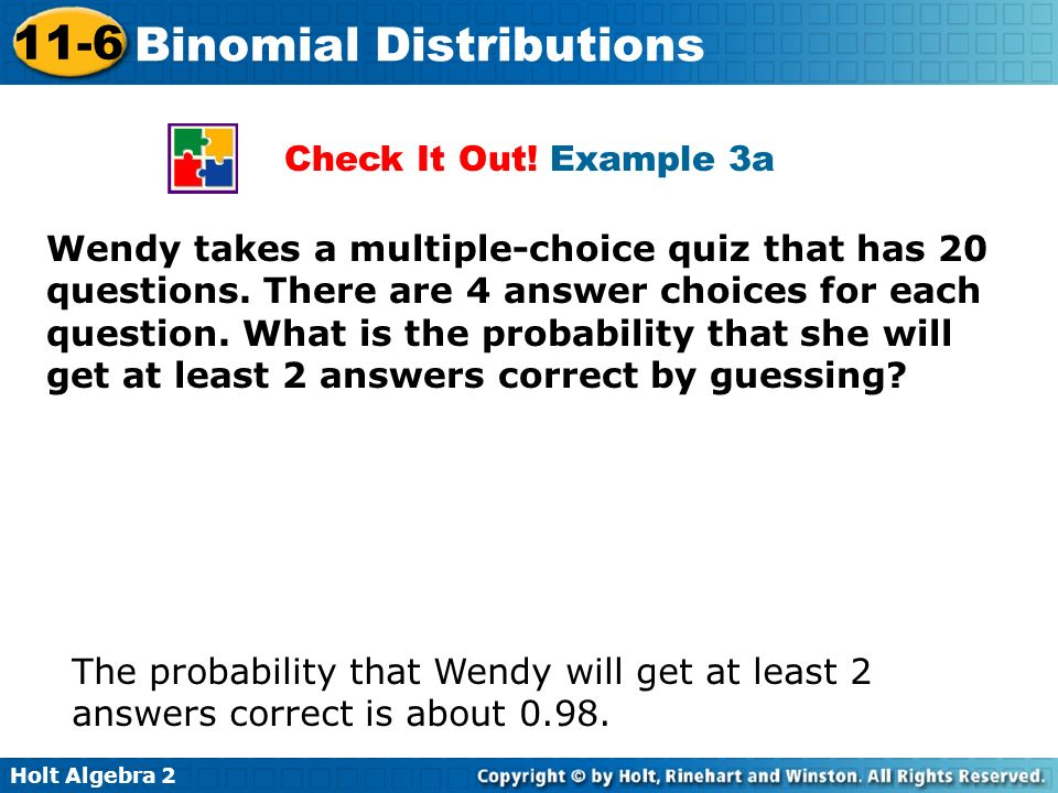 Binomial Distributions ppt download – Holt Algebra 2 Worksheet Answers
