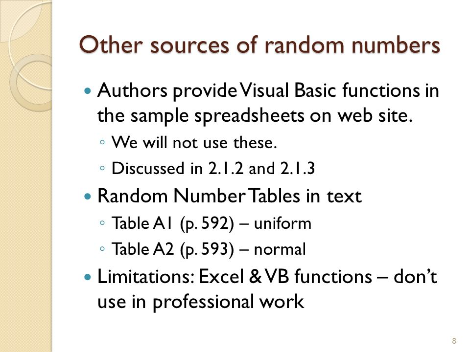 Simulation examples by hand using excel ppt video for Random number table 1 99