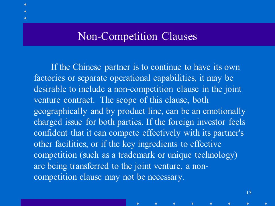 Non-Competition Clauses
