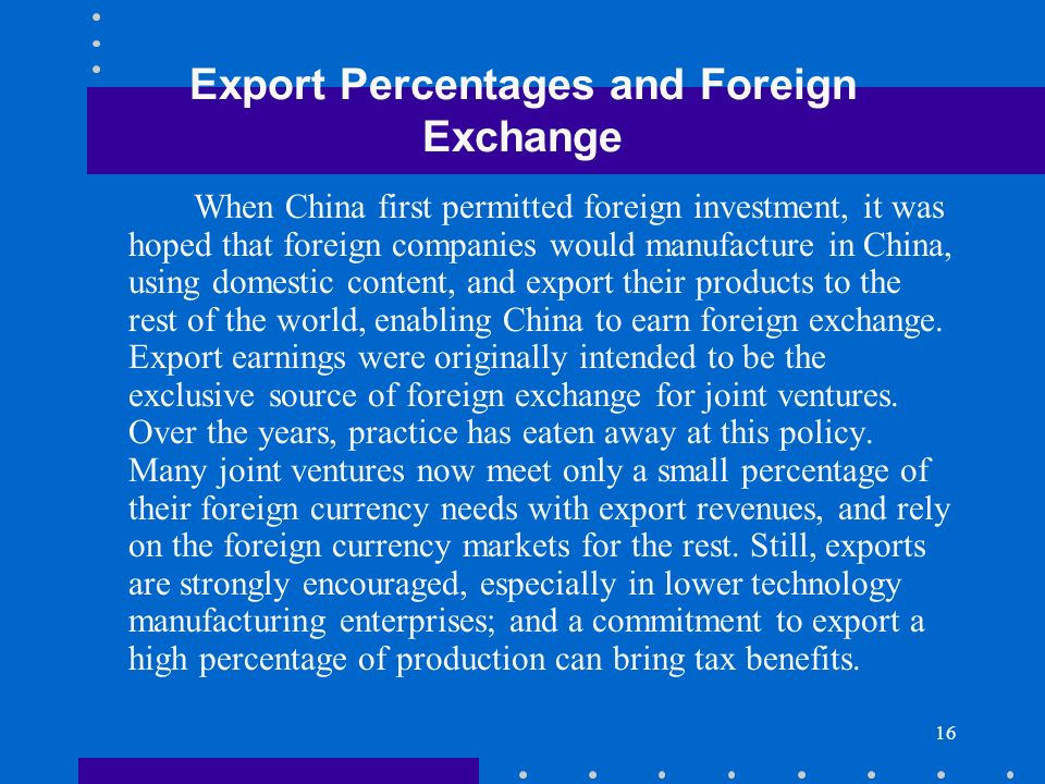 Export Percentages and Foreign Exchange