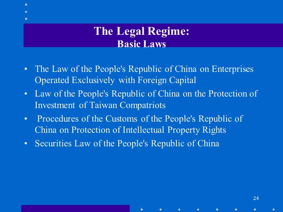 The Legal Regime: Basic Laws