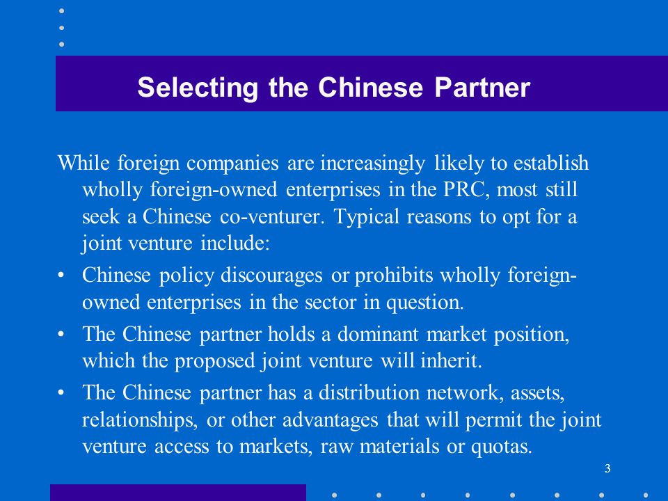 Selecting the Chinese Partner