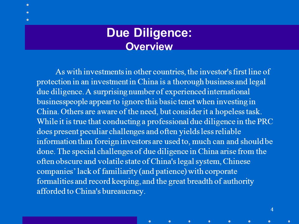 Due Diligence: Overview