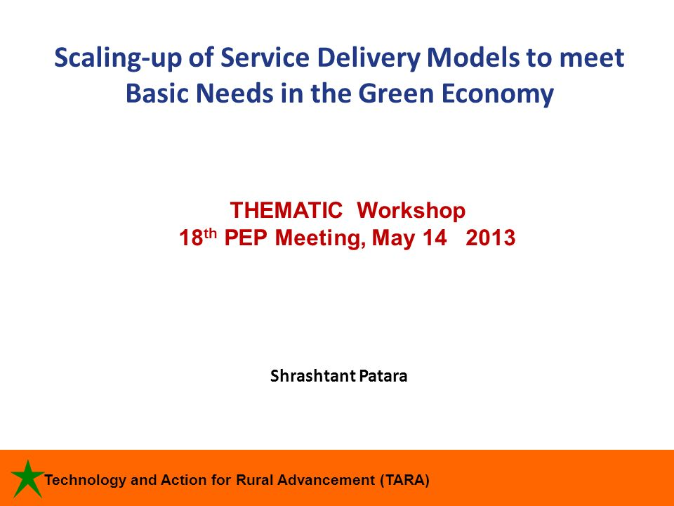 Scaling-up of Service Delivery Models to meet Basic Needs in the Green Economy